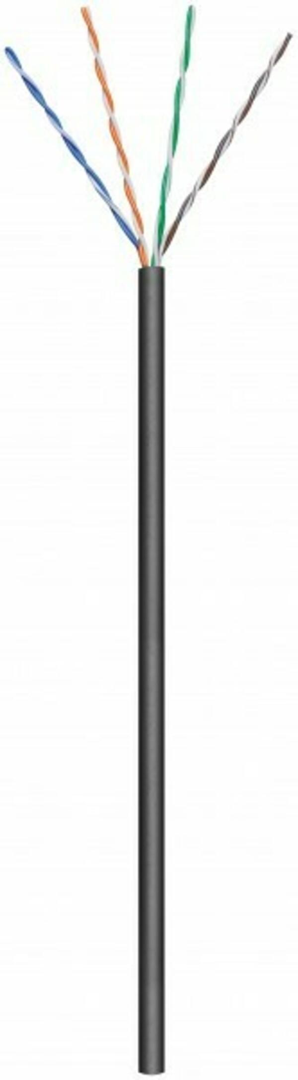 Afbeelding van CAT6 U/UTP 100m outdoor cable on a reel stranded black CCA